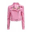 Womens New Stylish Fancy Bird Floral Embroidery Lapel Collar Long Sleeve Belted Hem Cropped Zip Up PU Biker Jacket