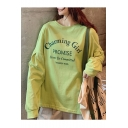 Summer Girls Trendy Letter CHARMING GIRL Print Round Neck Long Sleeve Loose Fit Green Tee