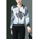Womens Hot Popular Geometric Chain Printed Stand Collar Long Sleeve Zip Up Baseball Jacket