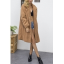 Womens Winter Hot Popular Classic Camel Notched Lapel Collar Long Sleeve Faux Fur Overcoat