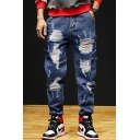Men's Cool Fashion Distressed Blue Regular Fit Trendy Frayed Ripped Jeans