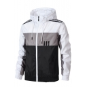 New Stylish Colorblock Printed Long Sleeve Hooded Zip Up Loose Casual Sports Jacket for Men