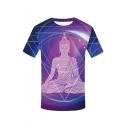 Mens Summer Stylish Buddha Pattern Round Neck Short Sleeve Purple T-Shirt