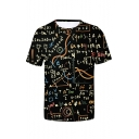 Mens Summer New Stylish Letter Pattern Round Neck Short Sleeve Casual Black T-Shirt
