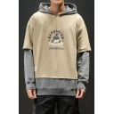 Men's Trendy Letter BARBARIAN Figure Printed Colorblock Fake Two Pieces Long Sleeve Casual Sports Hoodie