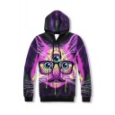 Popular Fashion Cartoon Three-eyed Cat Galaxy 3D Printed Long Sleeve Purple Pullover Hoodie