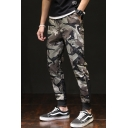 Mens Cool Camouflage Letter Diagonal Stripes Printed Army Green Casual Sports Cargo Pants