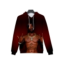Red Thug Life Muscle Figure 3D Printing Long Sleeve Pullover Hoodie