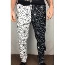 Men's Hot Fashion Colorblock Geometric Pattern Drawstring Waist Sports Pencil Pants