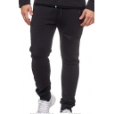 New Arrival Popular Zip Pocket Simple Plain Drawstring Waist Slim Fitted Casual Sports Cotton Pencil Pants for Men