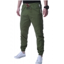 Mens New Fashion Solid Color Drawstring Waist Zipped Pocket Slim Fit Casual Pants