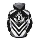 Popular Game Number 6 Striped Printed Black and White Long Sleeve Drawstring Hoodie
