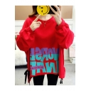 New Fashion High Low Hem Letter Print Round Neck Long Sleeve Loose Sweatshirt