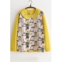 New Fancy Peter-Pan Collar Cartoon House Print Round Neck Long Sleeve Loose Sweatshirt