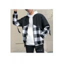 Mens Stylish Classic Plaid Patched Print Stand-Collar Long Sleeve Zip Up Loose Jacket
