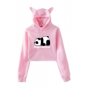 New Popular Letter Hungry And Tired Cute panda Print Cat Ear Cropped Casual Hoodie