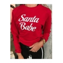 Santa Babe Letter Print Round Neck Long Sleeve Relaxed Sweatshirt