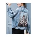 Loose ROMORU Letter Print Button Closure Denim Jeans Pocket Coat Outwear