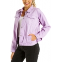 Fashion Style Purple Lapel Collar Denim Short Jacket Coat with Pockets