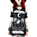 Hot Trendy Letter SQUAD Gothic Cartoon Printed Cutout Short Sleeve Casual Longline Tee
