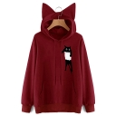 Cartoon Cat Print Pocket Long Sleeve Cat Ear Hoodie