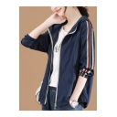 Hooded Style Stripes Panel Sleeve Elasticized Cuffs Zipper Short Jacket