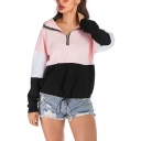 Hot Popular Womens Half-Zip Front Color Block Long Sleeve Hoodie With Pockets