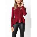 New Arrival Ladies Ruffled Hem Basic Zipper Tailored Fit Jacket Coat