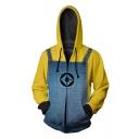 Popular Yellow Comic Cosplay Costume 3D Printed Long Sleeve Zip Up Drawstring Hoodie