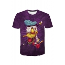 Hot Popular 3D Donald Duck Comic Printed Round Neck Short Sleeve Purple T-Shirt