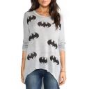 Summer Hot Popular Simple Letter Bat Print Round Neck Long Sleeve Loose Long Grey T-Shirt