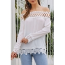 Womens Stylish Plain Sexy Off the Shoulder Long Sleeve Lace-Panel White Blouse Top