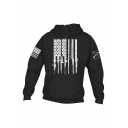 Men's New Fashion Cool Stars Firearms Printed Long Sleeve Casual Sports Hoodie