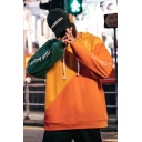 Guys Hot Fashion Colorblock Letter Floral Printed Long Sleeve Street Style Trendy Drawstring Hoodie