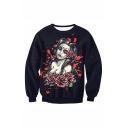 New Fashion A Sexy Girl Rose Blood 3D Printed Black Long Sleeve Round Neck Casual Loose Pullover Sweatshirts