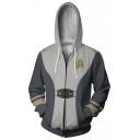 Popular Game Theme Rocket Printed Cosplay Costume Grey Long Sleeve Zip Up Hoodie