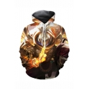 Popular Game Character 3D Printed Relaxed Fit Long Sleeve Yellow Pullover Hoodie