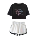Summer's LOVE YOURSELF Letters Print Short Sleeve Crop Tee with Elastic Dolphin Shorts Co-ords