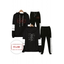 Cool Red Letters HELLBOY Print Patterns Long Sleeve Hoodie with Elastic Sweatpants Two Piece Set