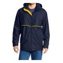 Mens Trendy Colorblock Print Zip Closure Lapel Collar Long Sleeve Sports Windbreaker Jackets