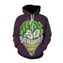 Popular Letter SO SERIOUS Joker 3D Printed Purple Long Sleeve Loose Fit Unisex Pullover Hoodie