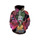 New Fashion Popular Joker 3D Printed Long Sleeve Unisex Pink Loose Pullover Hoodie