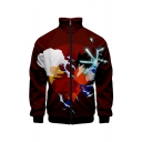 Hot Fashion Comic Figure 3D Pattern Stand Collar Long Sleeve Zip Up Red Jacket