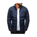 Men's Hot Stylish Long Sleeve Stand Collar Camouflage Print Zipper Pleated Padded Coat