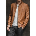 Men's Stylish Long Sleeve Stand Collar Zippered Letter IS Print Leather Moto Jacket