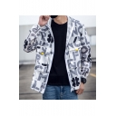 Mens Popular Letter Printed Long Sleeve Zip Up Hooded Sun Protection Workwear Jacket Coat