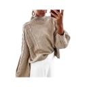 Womens Popular Plain Diamond Print Ribbed Knit Mock Neck Sweater
