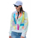 Colorful Geometric Pattern Print Sequined Embellished Zipper Baseball Jacket Coat
