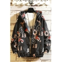 Men's New Fashion Letter Print Long Sleeve Zip Placket Casual Hooded Sport Jacket