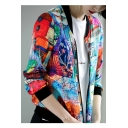 Colorful Graffiti Archive Print Stand Up Collar Zipper Long Sleeve Jacket Coat